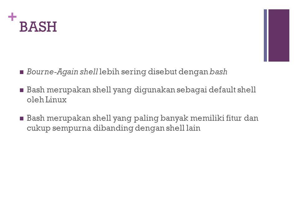 BASH Bourne-Again shell lebih sering disebut dengan bash