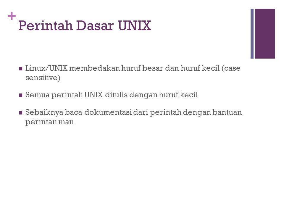 Perintah Dasar UNIX Linux/UNIX membedakan huruf besar dan huruf kecil (case sensitive) Semua perintah UNIX ditulis dengan huruf kecil.