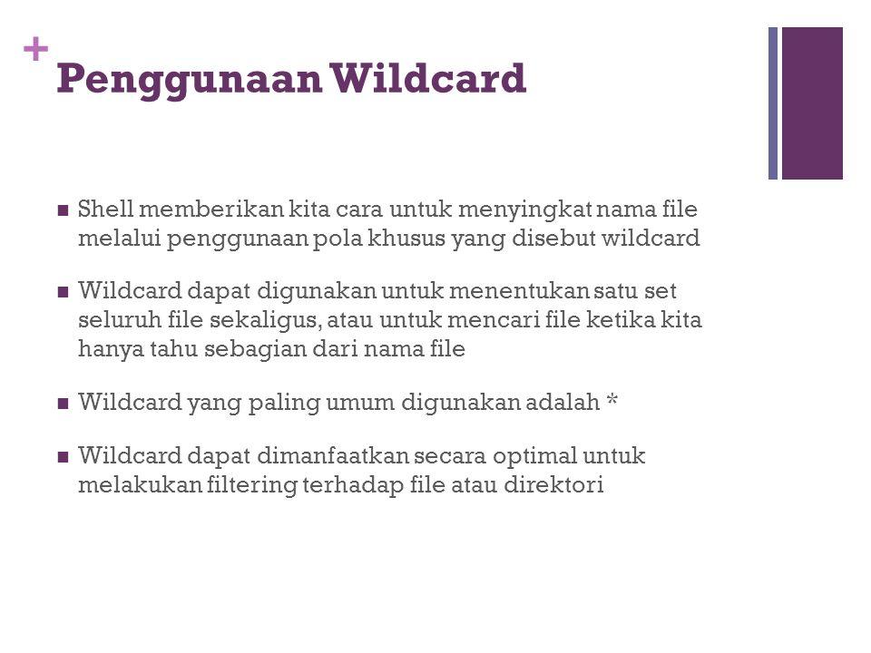 Penggunaan Wildcard Shell memberikan kita cara untuk menyingkat nama file melalui penggunaan pola khusus yang disebut wildcard.