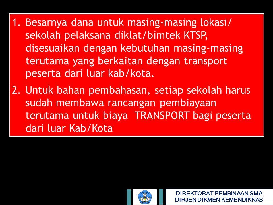 1. Besarnya dana untuk masing-masing lokasi/ sekolah pelaksana diklat/bimtek KTSP, disesuaikan dengan kebutuhan masing-masing terutama yang berkaitan dengan transport peserta dari luar kab/kota.
