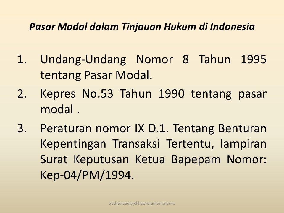 Pasar Modal dalam Tinjauan Hukum di Indonesia