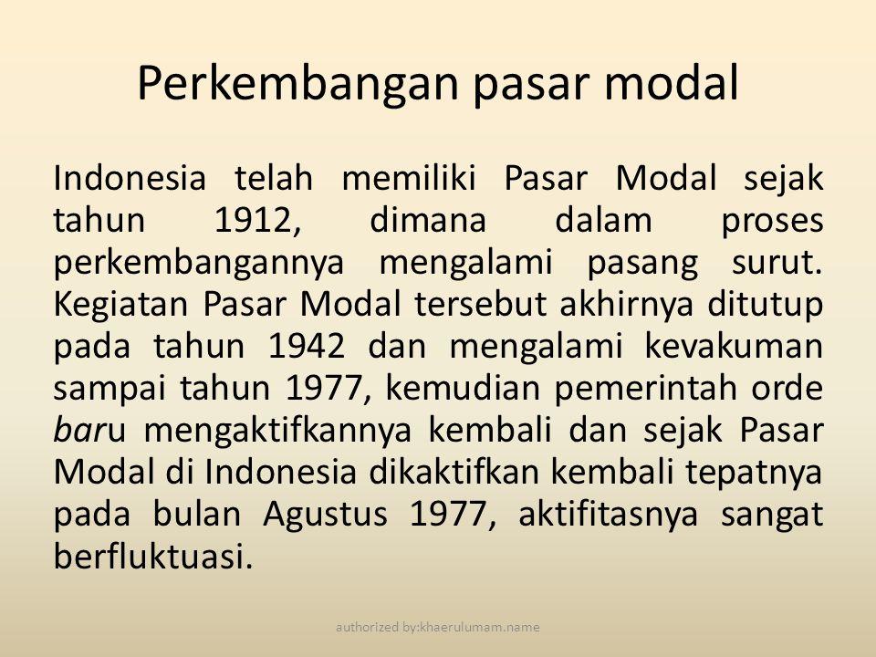 Perkembangan pasar modal