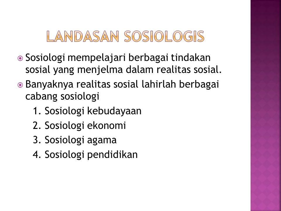 Landasan sosiologis Sosiologi mempelajari berbagai tindakan sosial yang menjelma dalam realitas sosial.