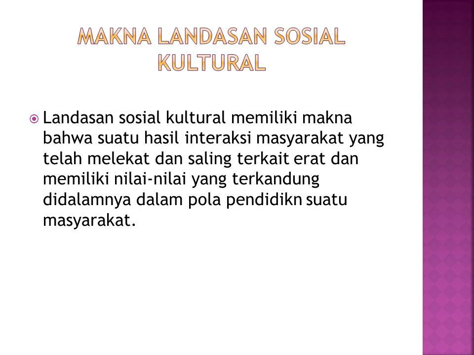 Makna landasan sosial kultural