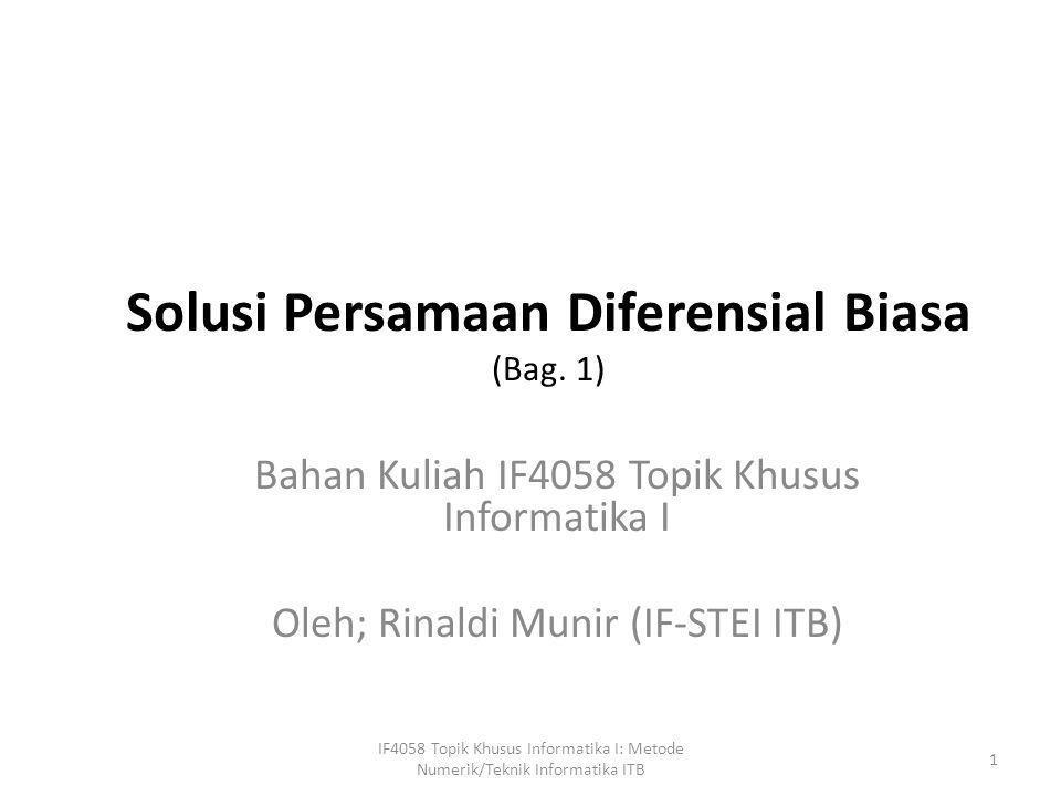 Solusi Persamaan Diferensial Biasa (Bag. 1)