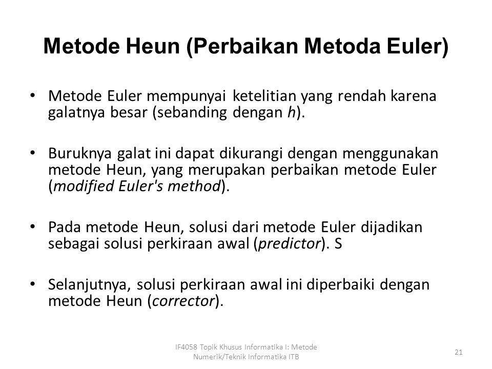 Metode Heun (Perbaikan Metoda Euler)