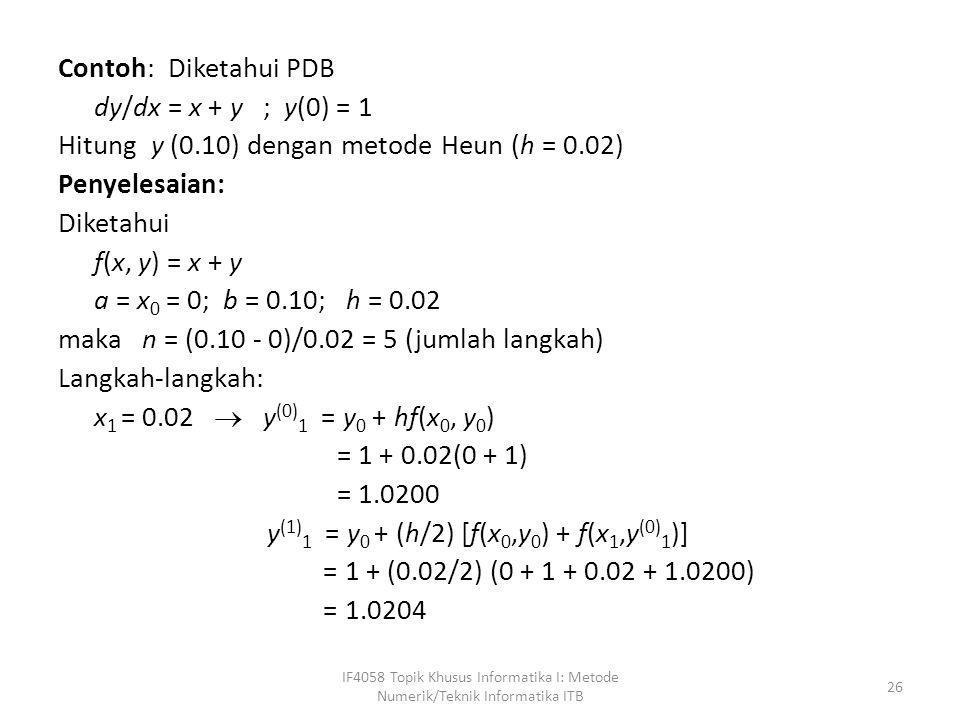 Contoh: Diketahui PDB dy/dx = x + y ; y(0) = 1 Hitung y (0