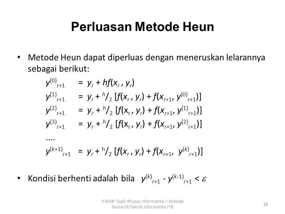 Perluasan Metode Heun Metode Heun dapat diperluas dengan meneruskan lelarannya sebagai berikut: y(0)r+1 = yr + hf(xr , yr)