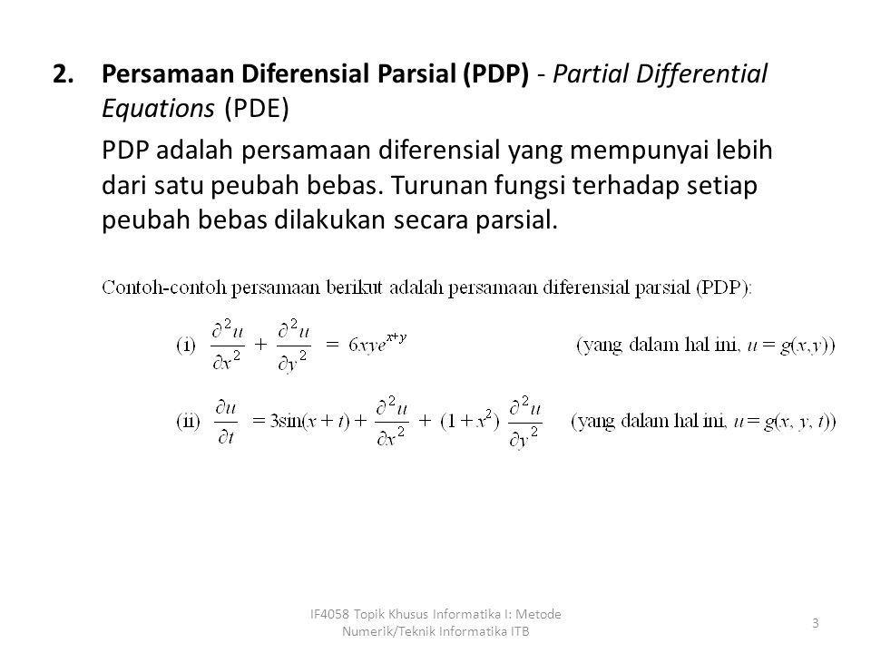 Persamaan Diferensial Parsial (PDP) - Partial Differential Equations (PDE)