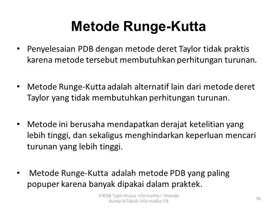 Metode Runge-Kutta Penyelesaian PDB dengan metode deret Taylor tidak praktis karena metode tersebut membutuhkan perhitungan turunan.