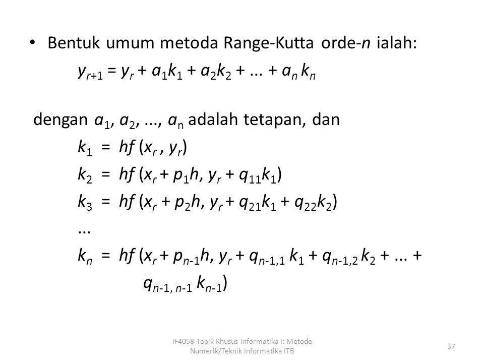 Bentuk umum metoda Range-Kutta orde-n ialah: