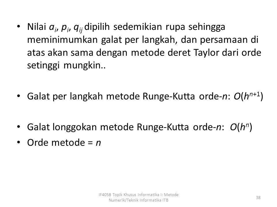Galat per langkah metode Runge-Kutta orde-n: O(hn+1)