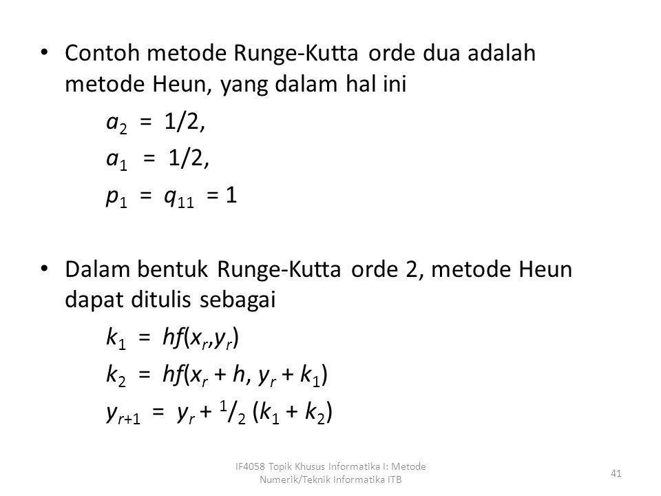 Dalam bentuk Runge-Kutta orde 2, metode Heun dapat ditulis sebagai