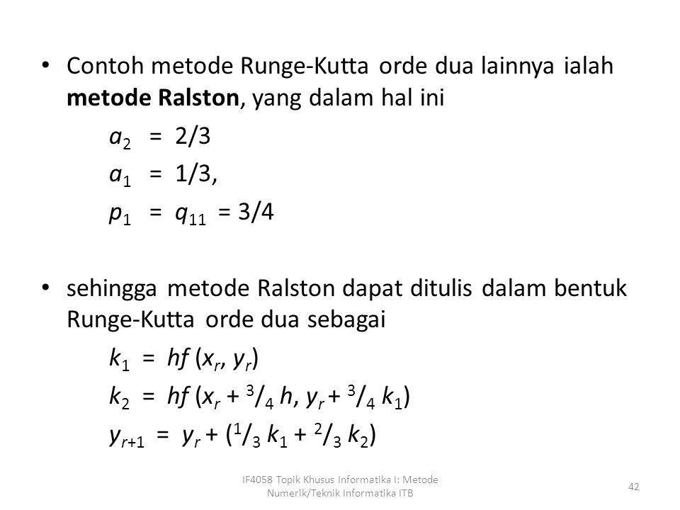 Contoh metode Runge-Kutta orde dua lainnya ialah metode Ralston, yang dalam hal ini