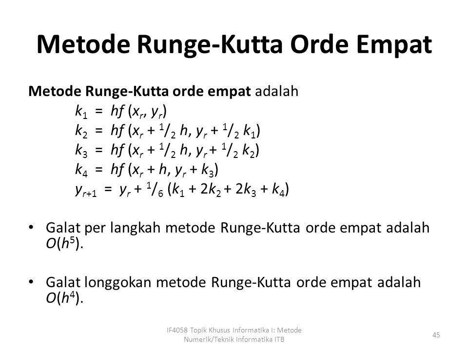 Metode Runge-Kutta Orde Empat