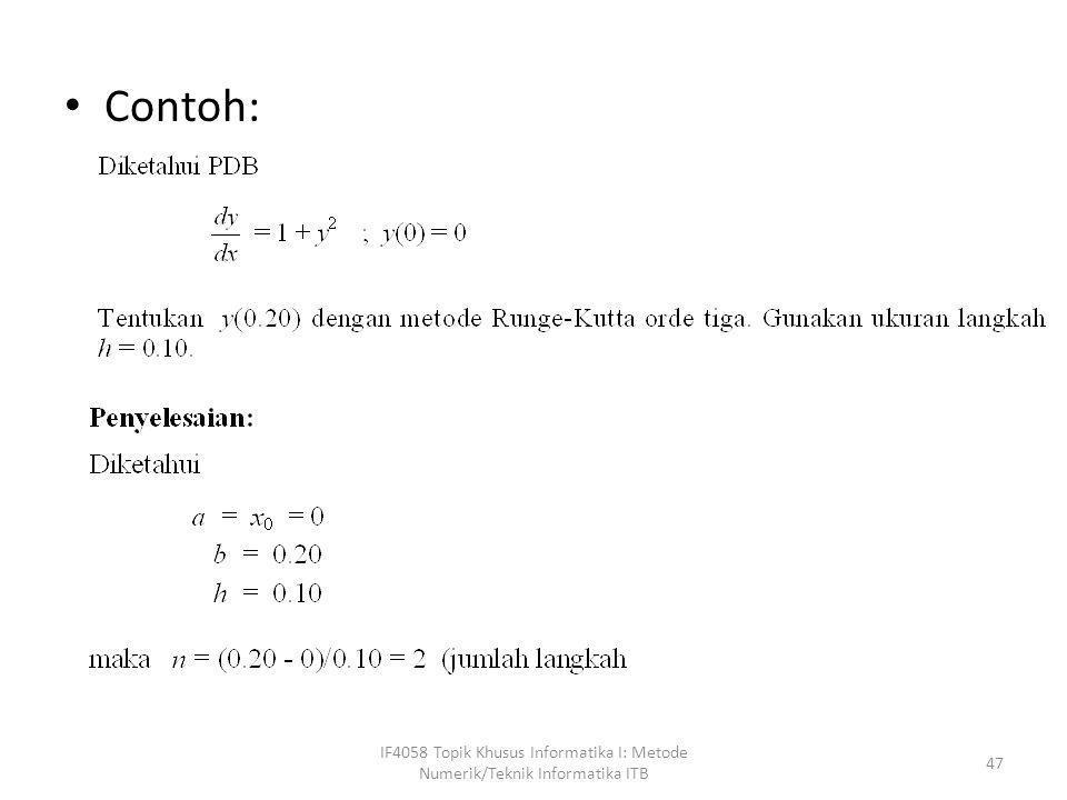 Contoh: IF4058 Topik Khusus Informatika I: Metode Numerik/Teknik Informatika ITB