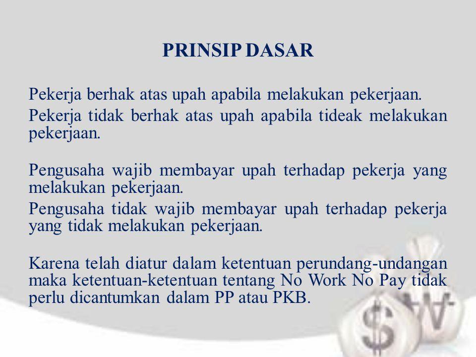 PRINSIP DASAR Pekerja berhak atas upah apabila melakukan pekerjaan.