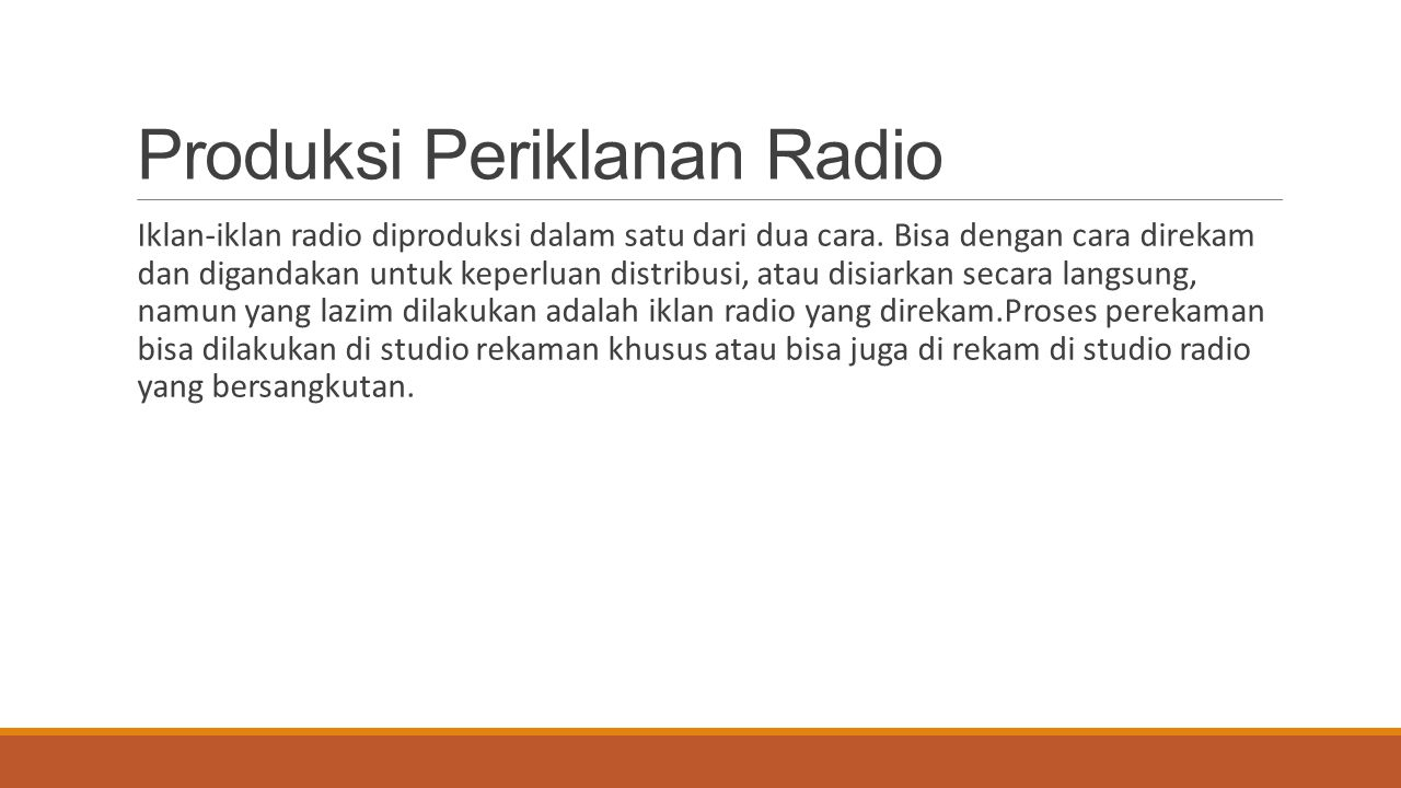 Produksi Periklanan Radio
