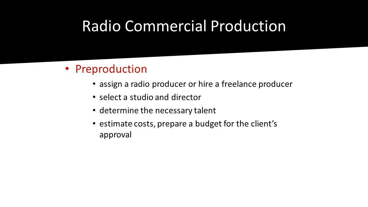Radio Commercial Production