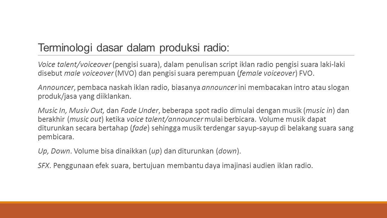 Terminologi dasar dalam produksi radio: