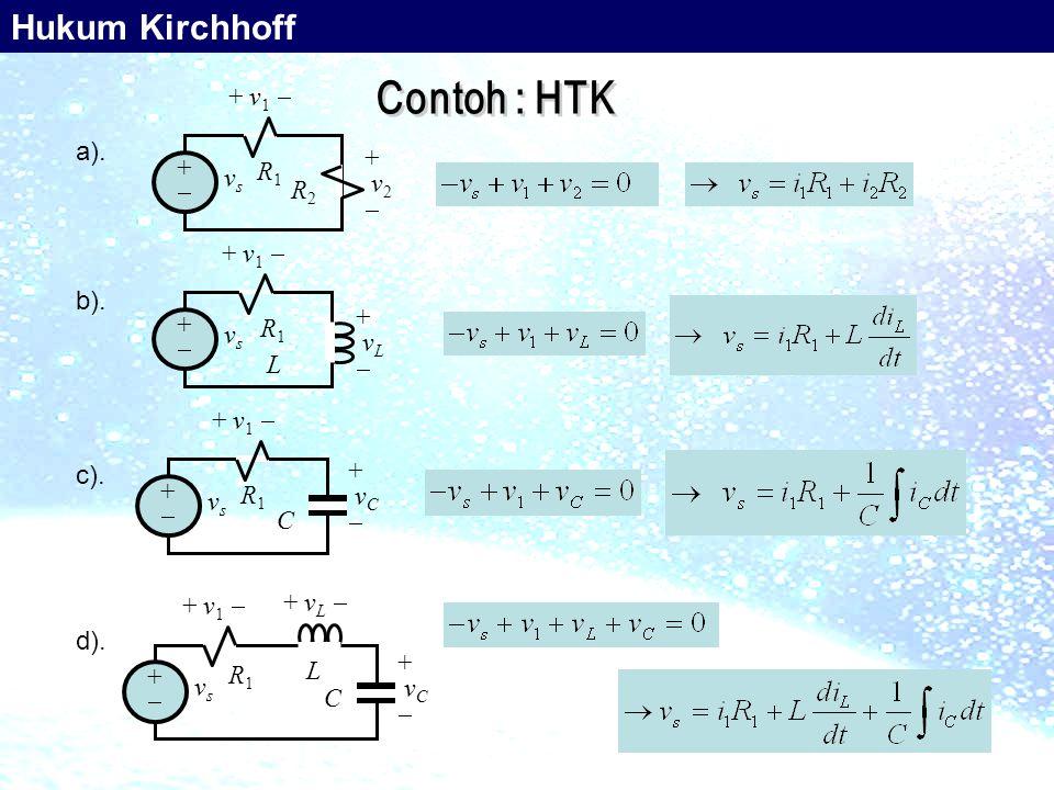 Hukum Kirchhoff + v1  +  vs R1 R2 v2 a). +  vs R1 vL + v1  L b).