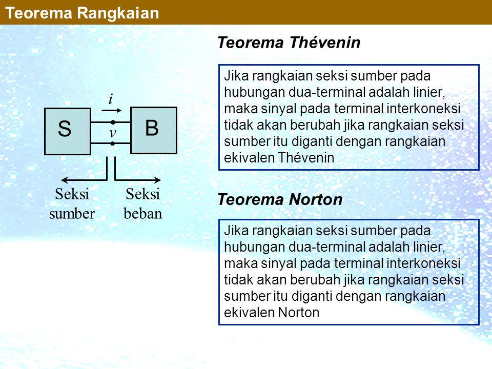 S B Teorema Rangkaian Teorema Thévenin i v Seksi sumber Seksi beban