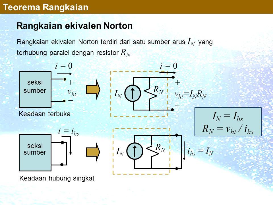 IN = Ihs RN = vht / ihs Teorema Rangkaian Rangkaian ekivalen Norton