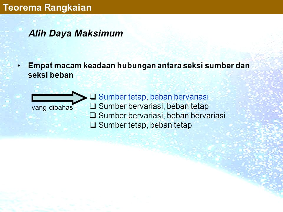 Teorema Rangkaian Alih Daya Maksimum