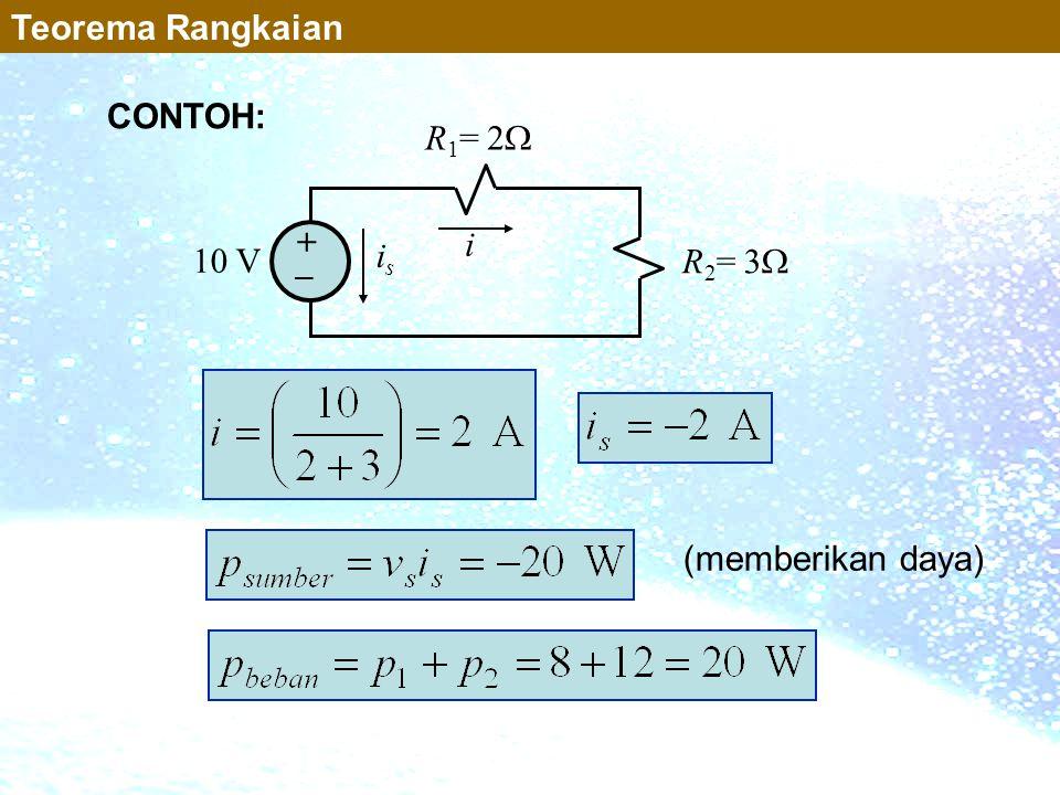 Teorema Rangkaian CONTOH: 10 V R1= 2 R2= 3 + _ i is (memberikan daya)