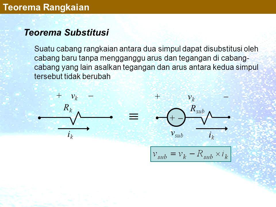  Teorema Rangkaian Teorema Substitusi + vk  + vk  Rk Rsub +  vsub