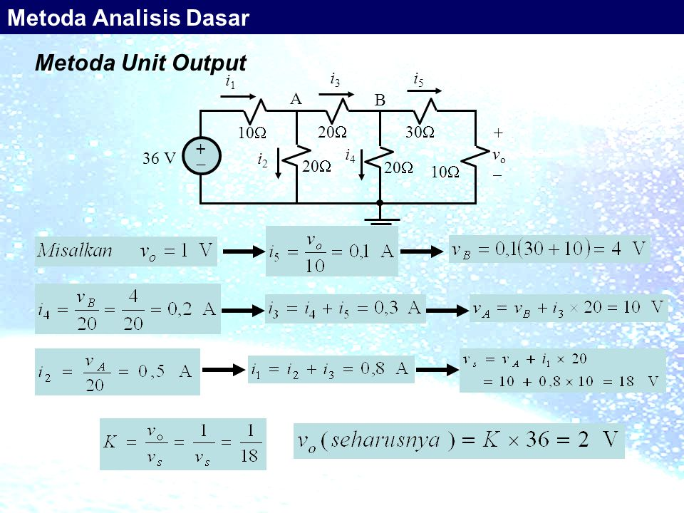 Metoda Analisis Dasar Metoda Unit Output 10 36 V +  20 30 i1 i3 i5