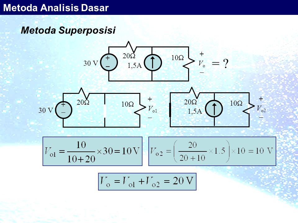 = Metoda Analisis Dasar Metoda Superposisi 20 + 10 Vo _ 30 V 