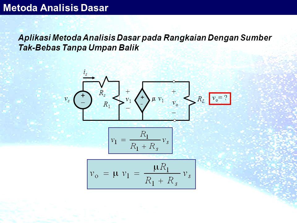 Metoda Analisis Dasar Aplikasi Metoda Analisis Dasar pada Rangkaian Dengan Sumber Tak-Bebas Tanpa Umpan Balik.