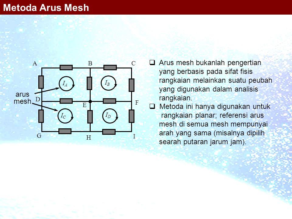 Metoda Arus Mesh Arus mesh bukanlah pengertian