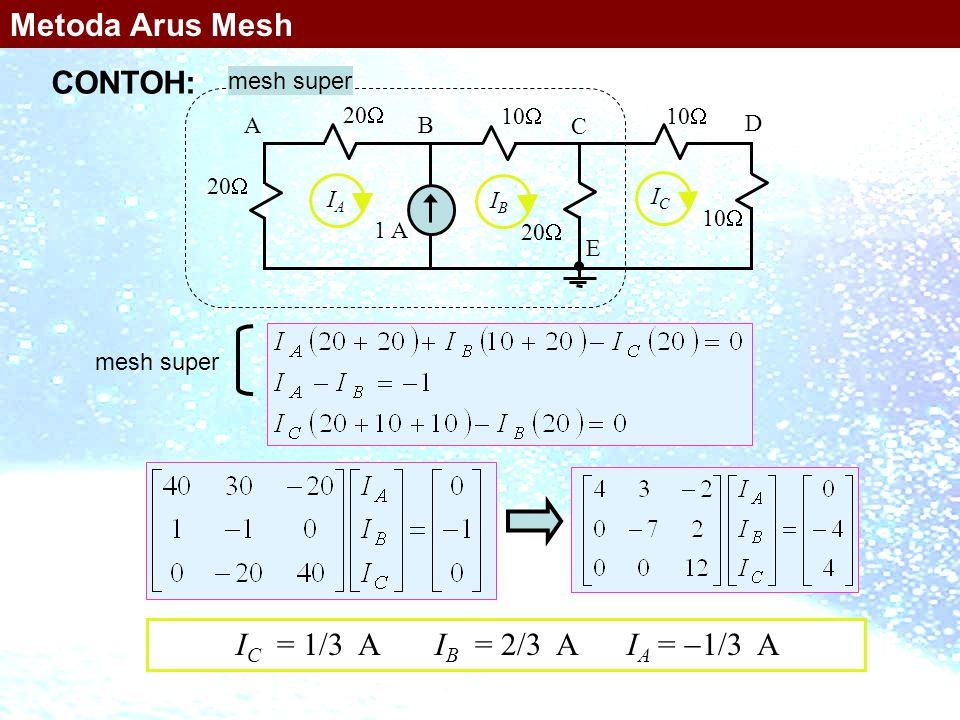 Metoda Arus Mesh CONTOH: IC = 1/3 A IB = 2/3 A IA = 1/3 A mesh super