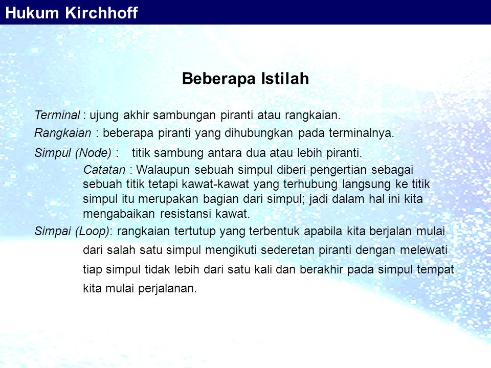 Hukum Kirchhoff Beberapa Istilah