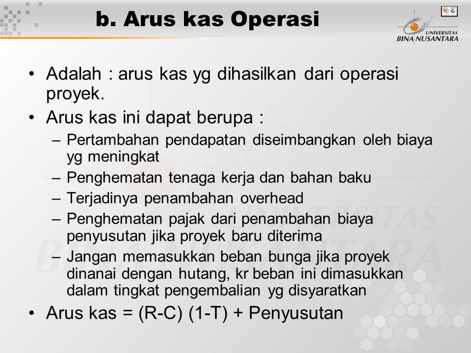b. Arus kas Operasi Adalah : arus kas yg dihasilkan dari operasi proyek. Arus kas ini dapat berupa :