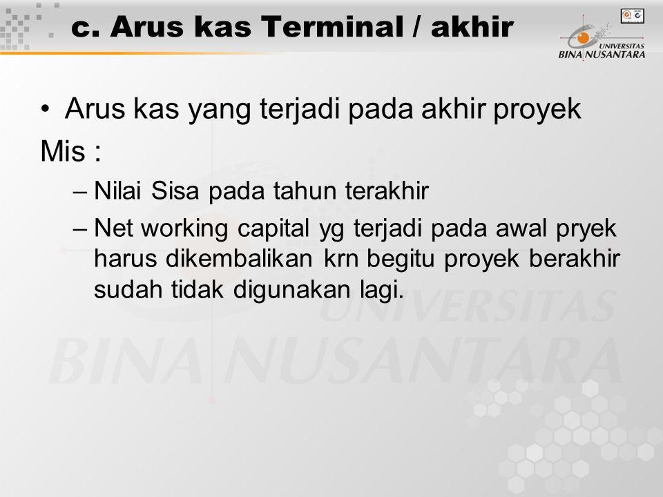 c. Arus kas Terminal / akhir