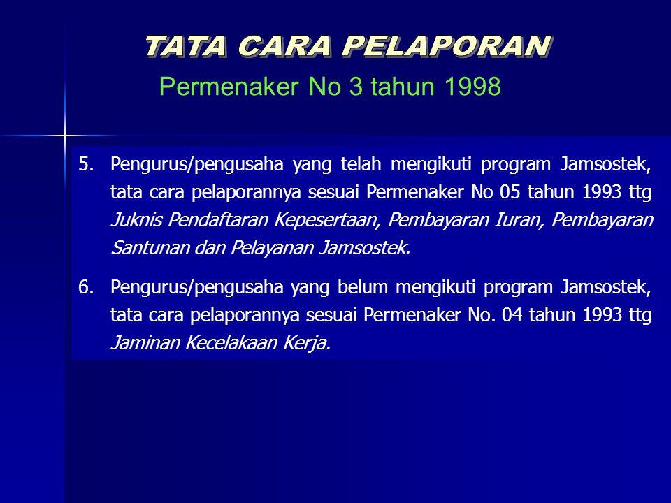 Permenaker No 3 tahun 1998 TATA CARA PELAPORAN