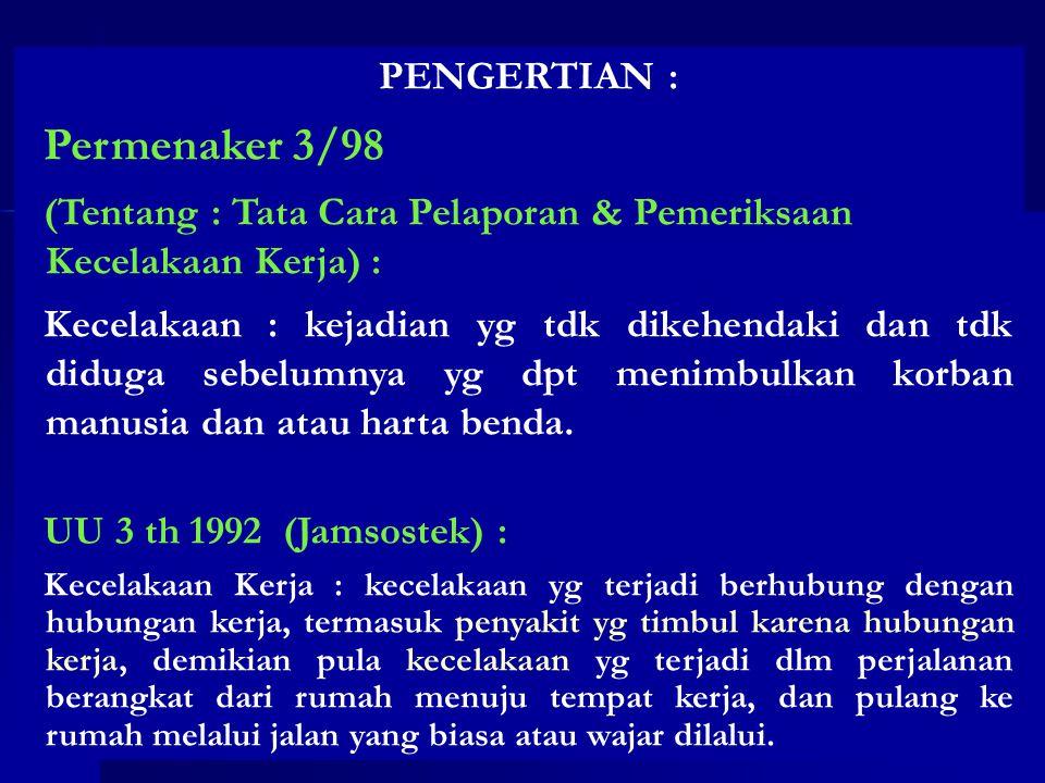 Permenaker 3/98 PENGERTIAN :