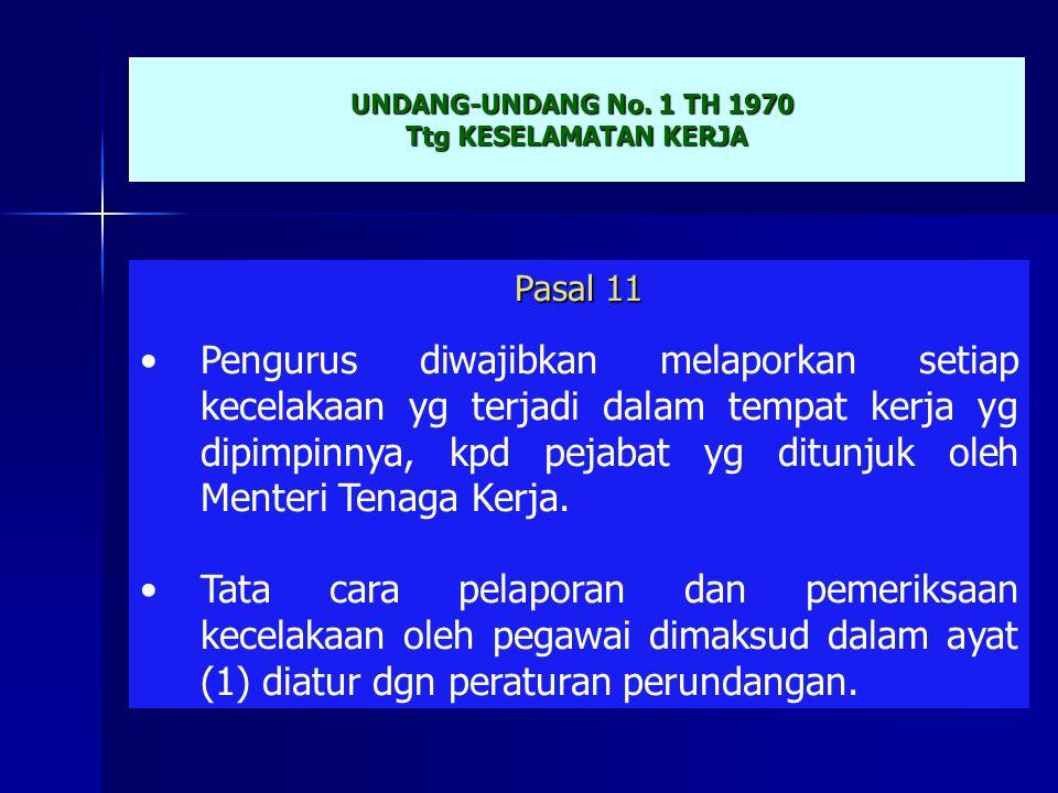 UNDANG-UNDANG No. 1 TH 1970 Ttg KESELAMATAN KERJA. Pasal 11.