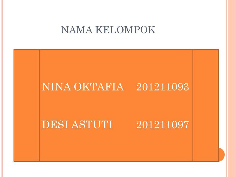 NAMA KELOMPOK NINA OKTAFIA 201211093 DESI ASTUTI 201211097