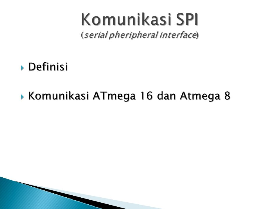 Komunikasi SPI (serial pheripheral interface)