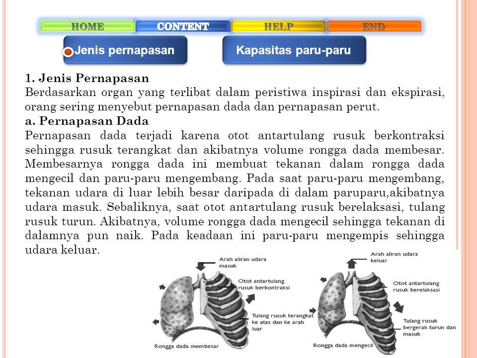 Jenis pernapasan Kapasitas paru-paru