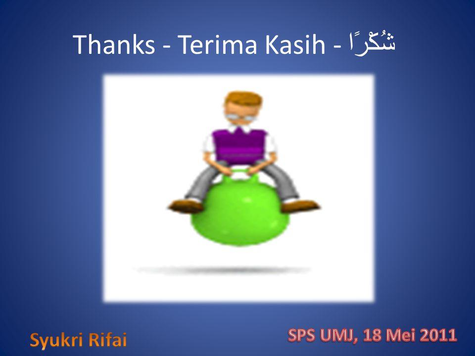 Thanks - Terima Kasih - شُكْرًا