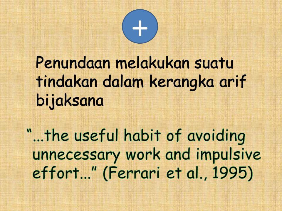 + Penundaan melakukan suatu tindakan dalam kerangka arif bijaksana