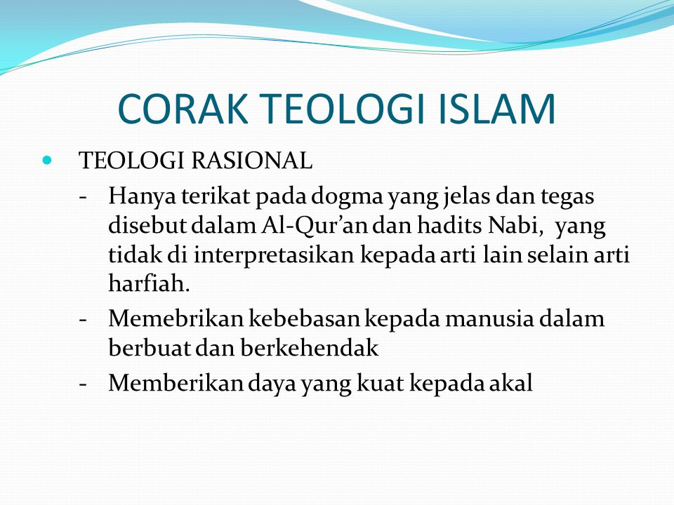 CORAK TEOLOGI ISLAM TEOLOGI RASIONAL
