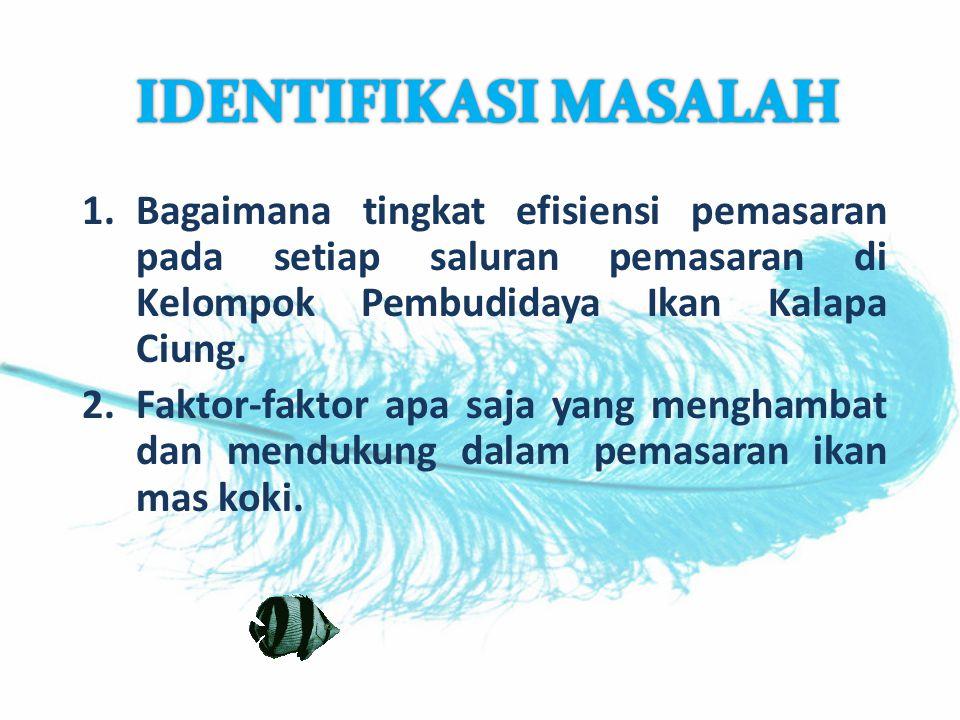 IDENTIFIKASI MASALAH Bagaimana tingkat efisiensi pemasaran pada setiap saluran pemasaran di Kelompok Pembudidaya Ikan Kalapa Ciung.