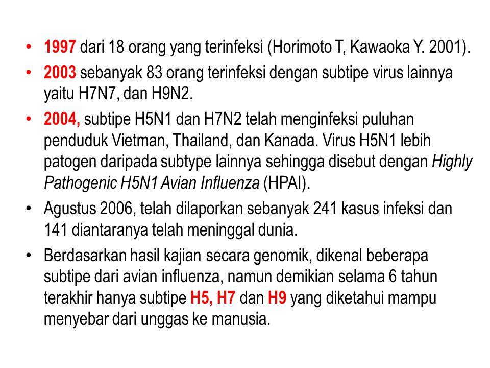 1997 dari 18 orang yang terinfeksi (Horimoto T, Kawaoka Y. 2001).