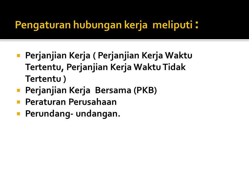 Pengaturan hubungan kerja meliputi :